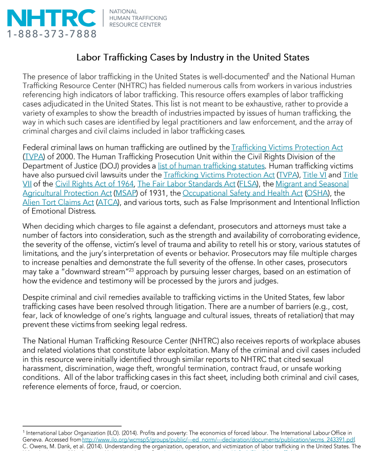 Labor Trafficking Cases